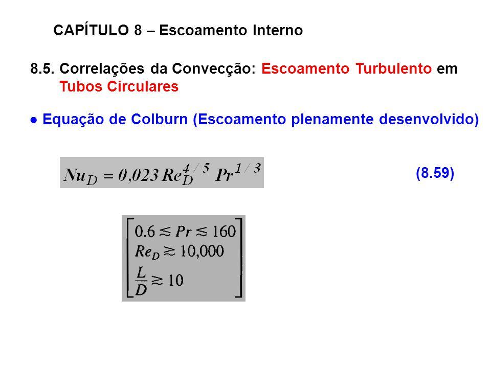 8.5. Correlações da Convecção: Escoamento Turbulento em Tubos Circulares CAPÍTULO 8 – Escoamento Interno (8.59) Equação de Colburn (Escoamento plename