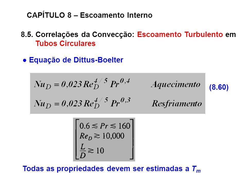8.5. Correlações da Convecção: Escoamento Turbulento em Tubos Circulares CAPÍTULO 8 – Escoamento Interno (8.60) Equação de Dittus-Boelter Todas as pro