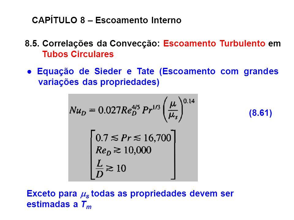 8.5. Correlações da Convecção: Escoamento Turbulento em Tubos Circulares CAPÍTULO 8 – Escoamento Interno (8.61) Equação de Sieder e Tate (Escoamento c