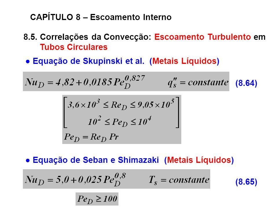 8.5. Correlações da Convecção: Escoamento Turbulento em Tubos Circulares CAPÍTULO 8 – Escoamento Interno (8.64) (8.65) Equação de Skupinski et al. (Me