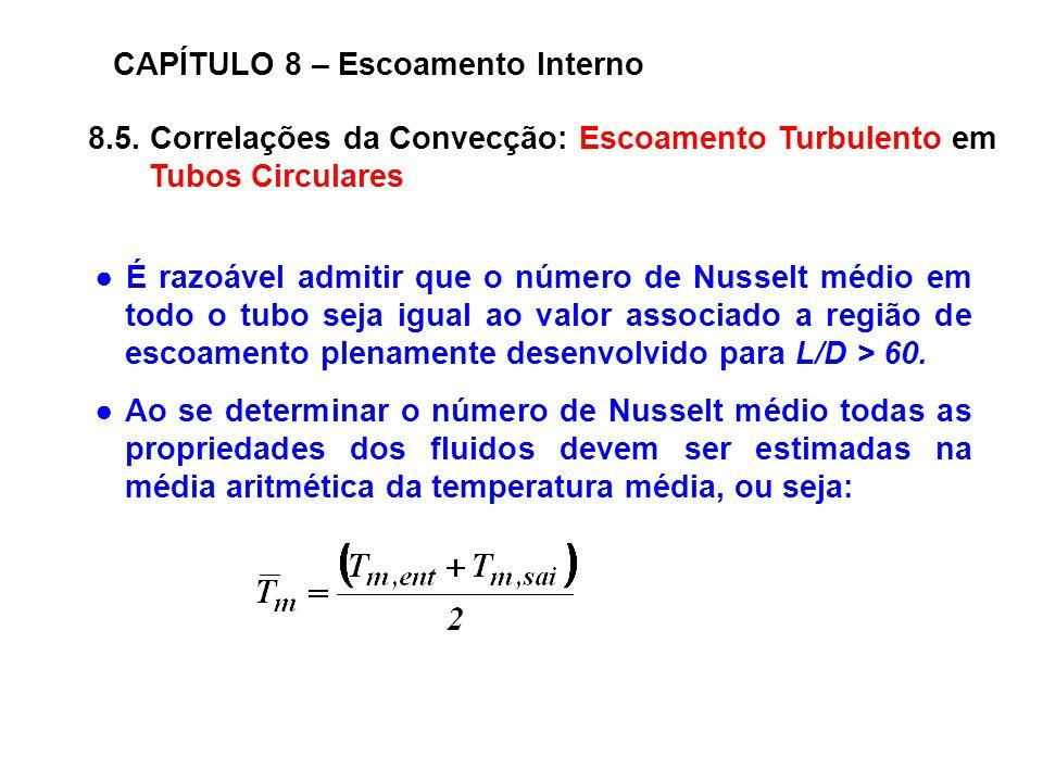 8.5. Correlações da Convecção: Escoamento Turbulento em Tubos Circulares CAPÍTULO 8 – Escoamento Interno É razoável admitir que o número de Nusselt mé