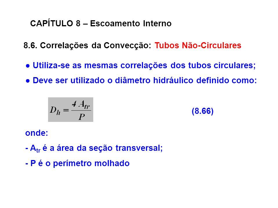 8.6. Correlações da Convecção: Tubos Não-Circulares CAPÍTULO 8 – Escoamento Interno (8.66) Utiliza-se as mesmas correlações dos tubos circulares; Deve