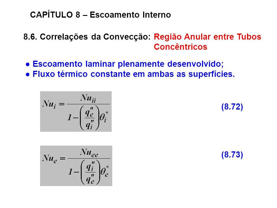 8.6. Correlações da Convecção: Região Anular entre Tubos Concêntricos CAPÍTULO 8 – Escoamento Interno (8.73) (8.72) Escoamento laminar plenamente dese