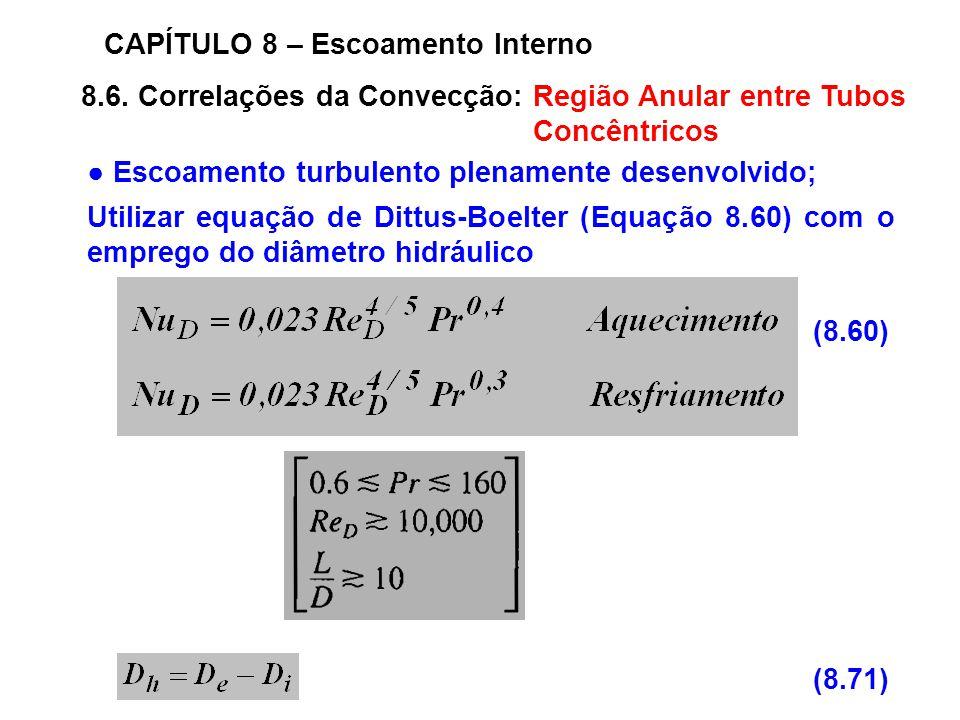 8.6. Correlações da Convecção: Região Anular entre Tubos Concêntricos CAPÍTULO 8 – Escoamento Interno Escoamento turbulento plenamente desenvolvido; U