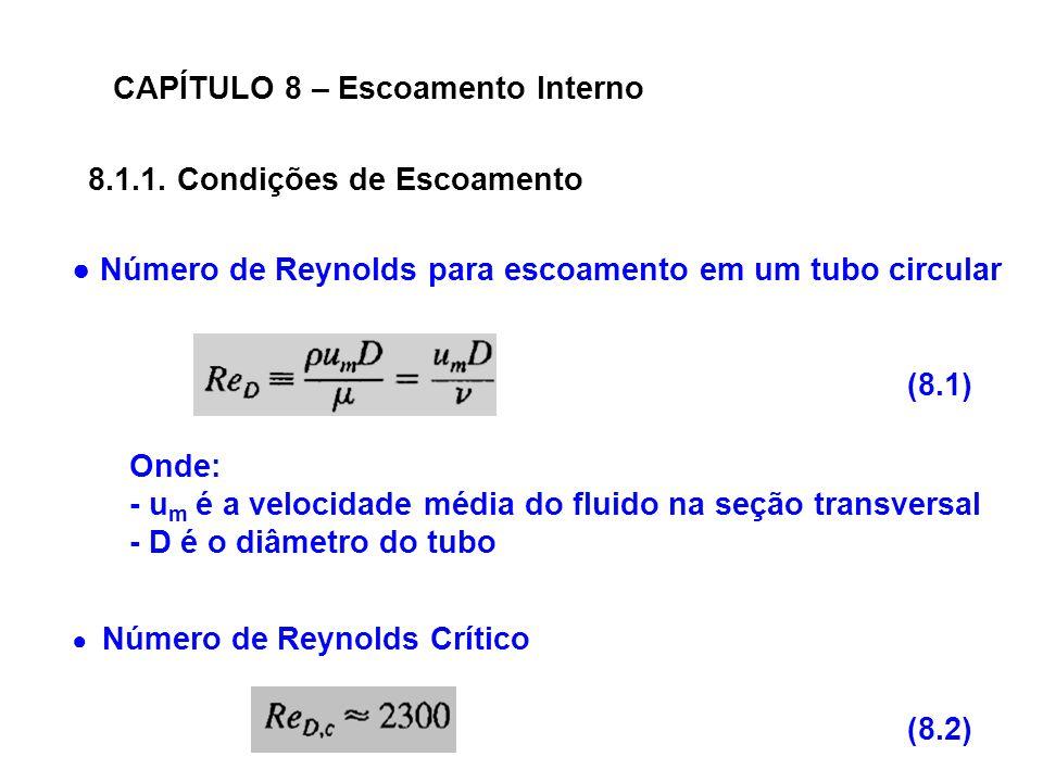 CAPÍTULO 8 – Escoamento Interno Número de Reynolds para escoamento em um tubo circular Onde: - u m é a velocidade média do fluido na seção transversal - D é o diâmetro do tubo Número de Reynolds Crítico 8.1.1.