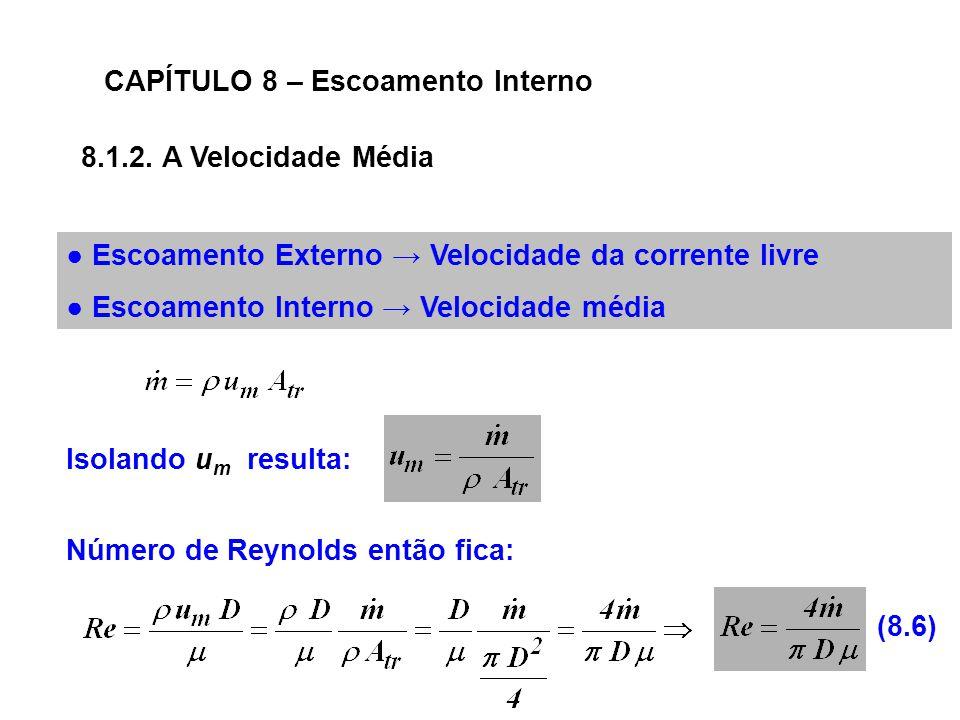CAPÍTULO 8 – Escoamento Interno 8.1.2.