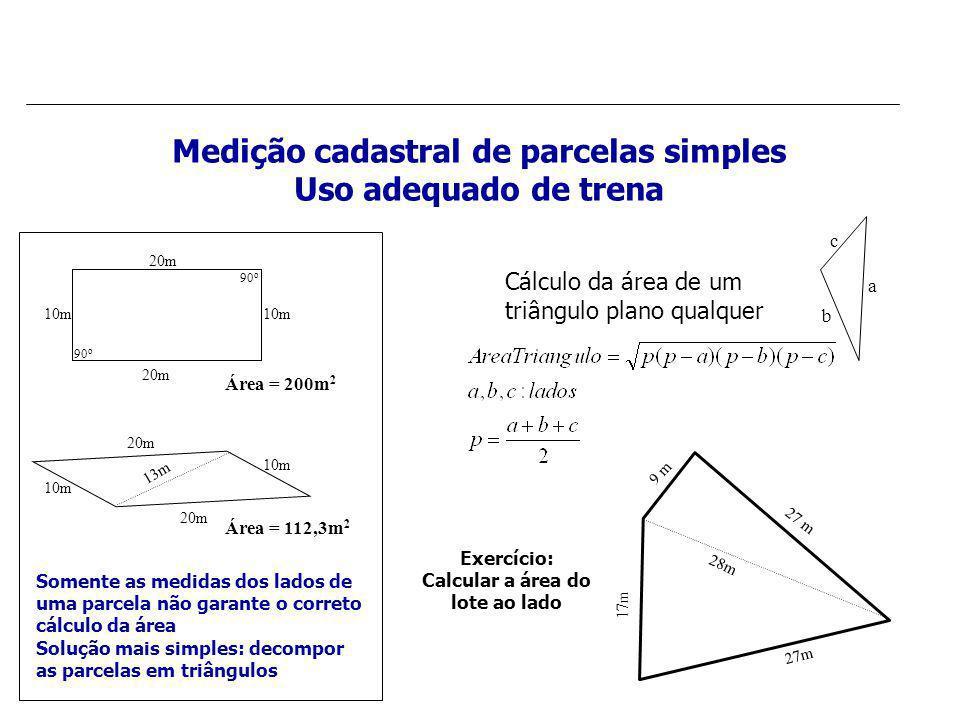10m 20m 90 o Área = 200m 2 Medição cadastral de parcelas simples Uso adequado de trena Área = 112,3m 2 10m 20m 13m Cálculo da área de um triângulo plano qualquer c b a Exercício: Calcular a área do lote ao lado 9 m 27 m 17m 27m 28m Somente as medidas dos lados de uma parcela não garante o correto cálculo da área Solução mais simples: decompor as parcelas em triângulos