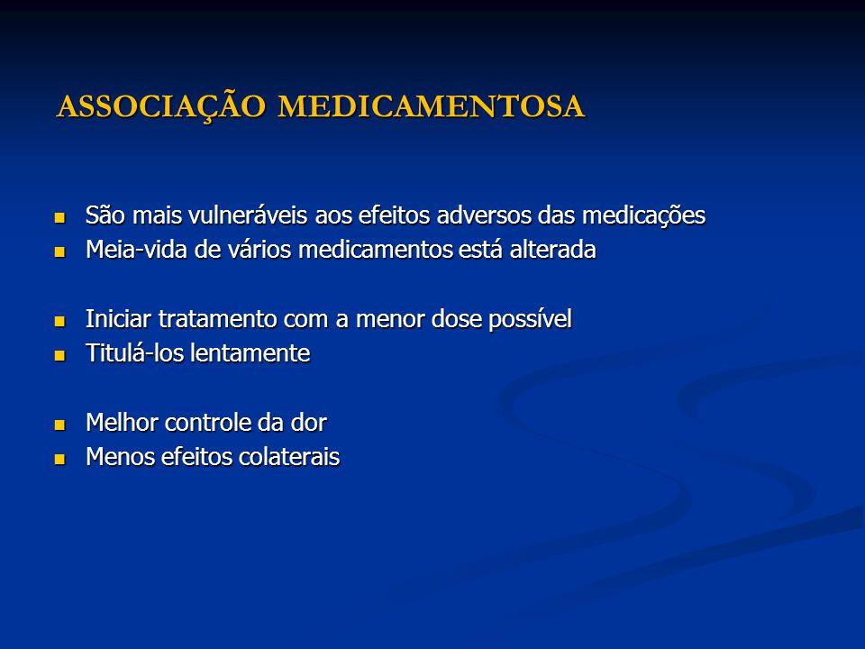 ASSOCIAÇÃO MEDICAMENTOSA São mais vulneráveis aos efeitos adversos das medicações São mais vulneráveis aos efeitos adversos das medicações Meia-vida d