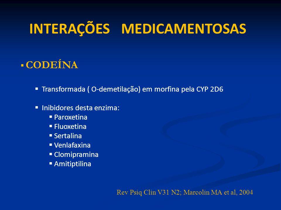 TRAMADOL Sofre O-demetilação pela CYP 2D6 Metabólito ativo M1 M1 tem maior atividade ( 2X) sobre o receptor opióide Inibe recaptação de Serotonina e Noradrenalina: mais que M1 Associação com antidepressivos: potência analgésica chance de Crise Serotoninérgica Rev Psiq Clin V31 N2; Marcolin MA et al, 2004