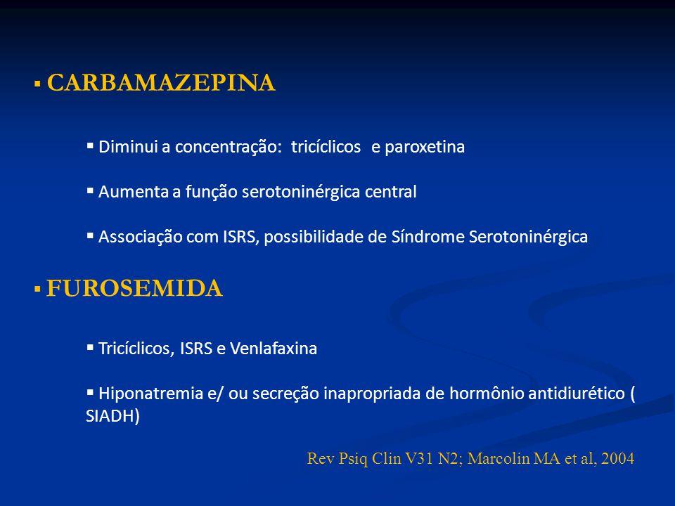 CARBAMAZEPINA Diminui a concentração: tricíclicos e paroxetina Aumenta a função serotoninérgica central Associação com ISRS, possibilidade de Síndrome