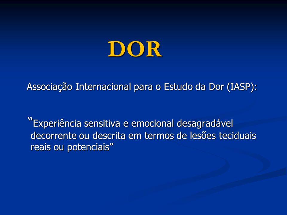 DOR Associação Internacional para o Estudo da Dor (IASP): Associação Internacional para o Estudo da Dor (IASP): Experiência sensitiva e emocional desa