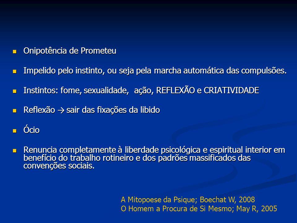 Onipotência de Prometeu Onipotência de Prometeu Impelido pelo instinto, ou seja pela marcha automática das compulsões. Impelido pelo instinto, ou seja