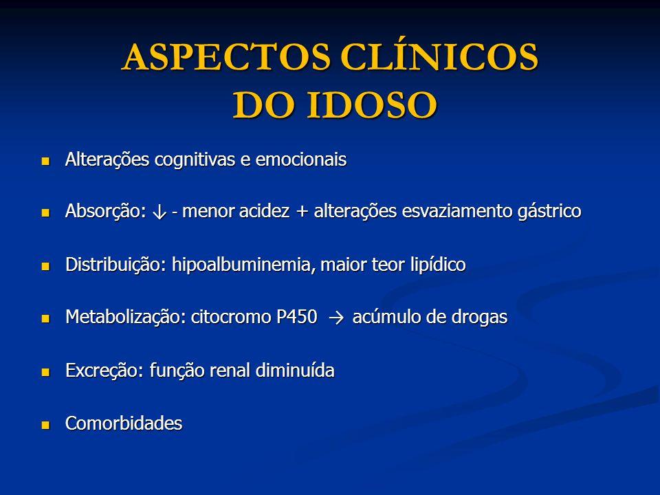 ASPECTOS CLÍNICOS DO IDOSO Alterações cognitivas e emocionais Alterações cognitivas e emocionais Absorção: - menor acidez + alterações esvaziamento gá