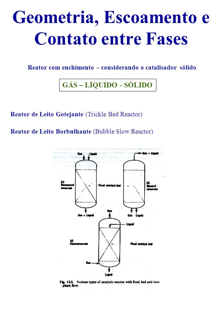Geometria, Escoamento e Contato entre Fases Reator com enchimento – considerando o catalisador sólido GÁS – LÍQUIDO - SÓLIDO Reator de Leito Gotejante (Trickle Bed Reactor) Reator de Leito Borbulhante (Bubble Slow Reactor)