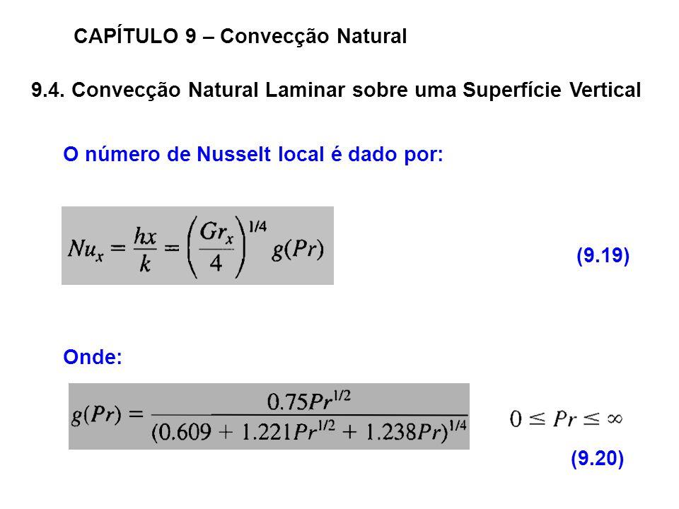 9.4. Convecção Natural Laminar sobre uma Superfície Vertical CAPÍTULO 9 – Convecção Natural O número de Nusselt local é dado por: Onde: (9.19) (9.20)