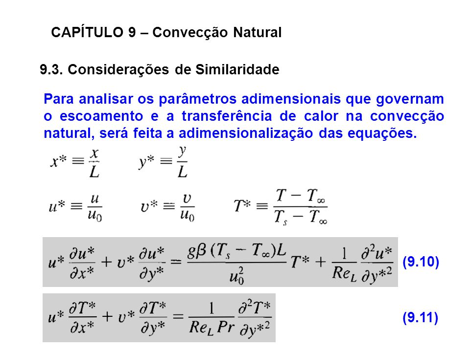 CAPÍTULO 9 – Convecção Natural 9.3. Considerações de Similaridade Para analisar os parâmetros adimensionais que governam o escoamento e a transferênci