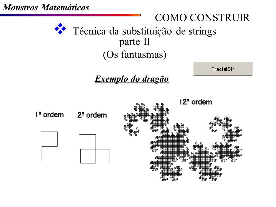 Monstros Matemáticos COMO CONSTRUIR Técnica da substituição de strings parte II (Os fantasmas) Exemplo do dragão