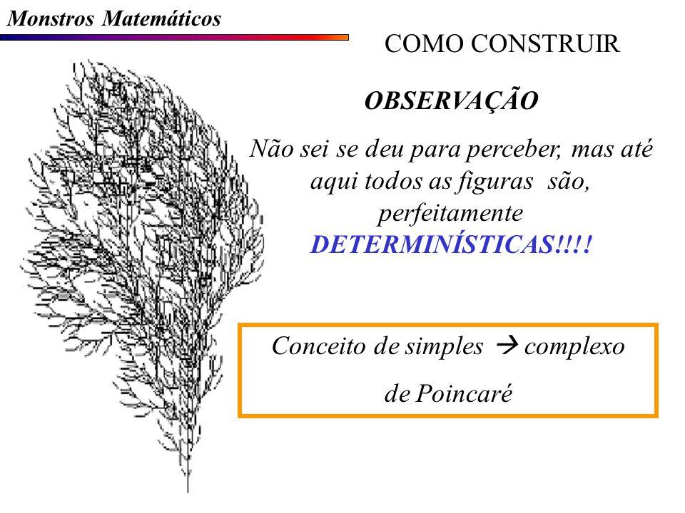 Monstros Matemáticos COMO CONSTRUIR OBSERVAÇÃO Não sei se deu para perceber, mas até aqui todos as figuras são, perfeitamente DETERMINÍSTICAS!!!.