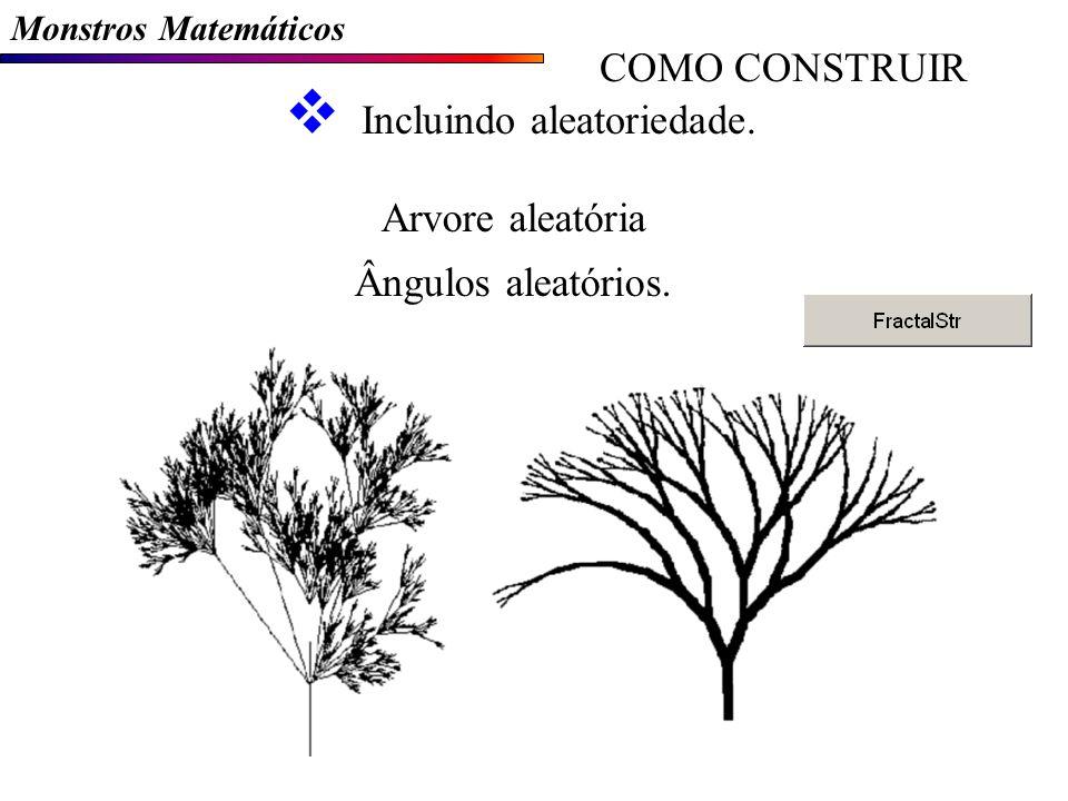 Monstros Matemáticos COMO CONSTRUIR Incluindo aleatoriedade. Arvore aleatória Ângulos aleatórios.