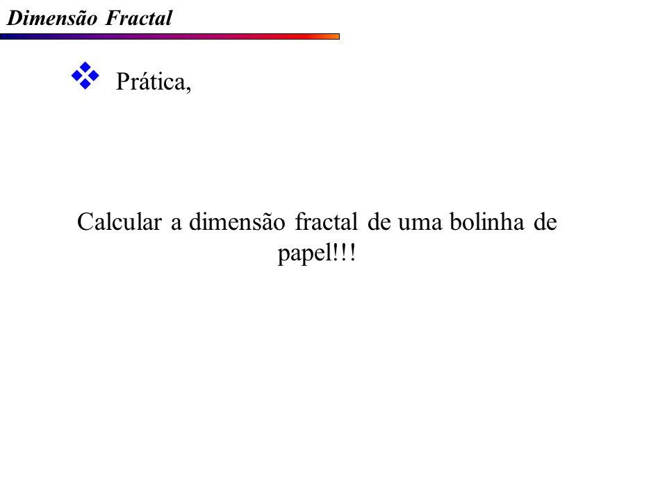 Dimensão Fractal Prática, Calcular a dimensão fractal de uma bolinha de papel!!!