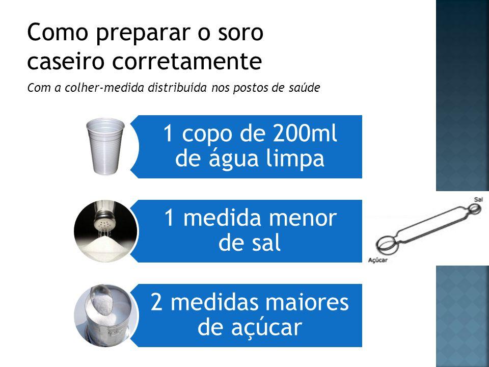 Com a colher-medida distribuída nos postos de saúde 1 copo de 200ml de água limpa 1 medida menor de sal 2 medidas maiores de açúcar