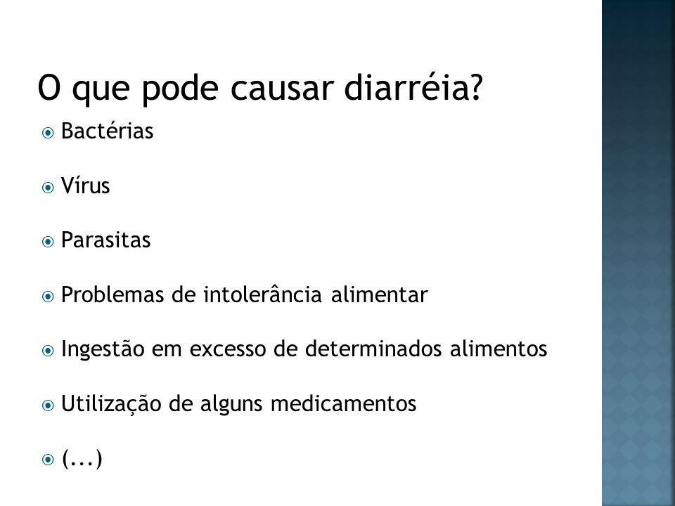 Bactérias Vírus Parasitas Problemas de intolerância alimentar Ingestão em excesso de determinados alimentos Utilização de alguns medicamentos (...)