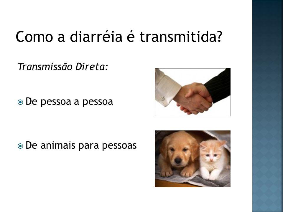 Transmissão Direta: De pessoa a pessoa De animais para pessoas