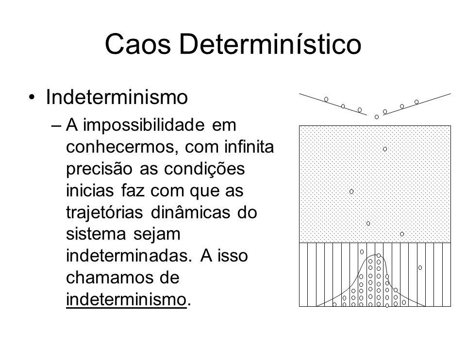 Caos Determinístico Indeterminismo –A impossibilidade em conhecermos, com infinita precisão as condições inicias faz com que as trajetórias dinâmicas