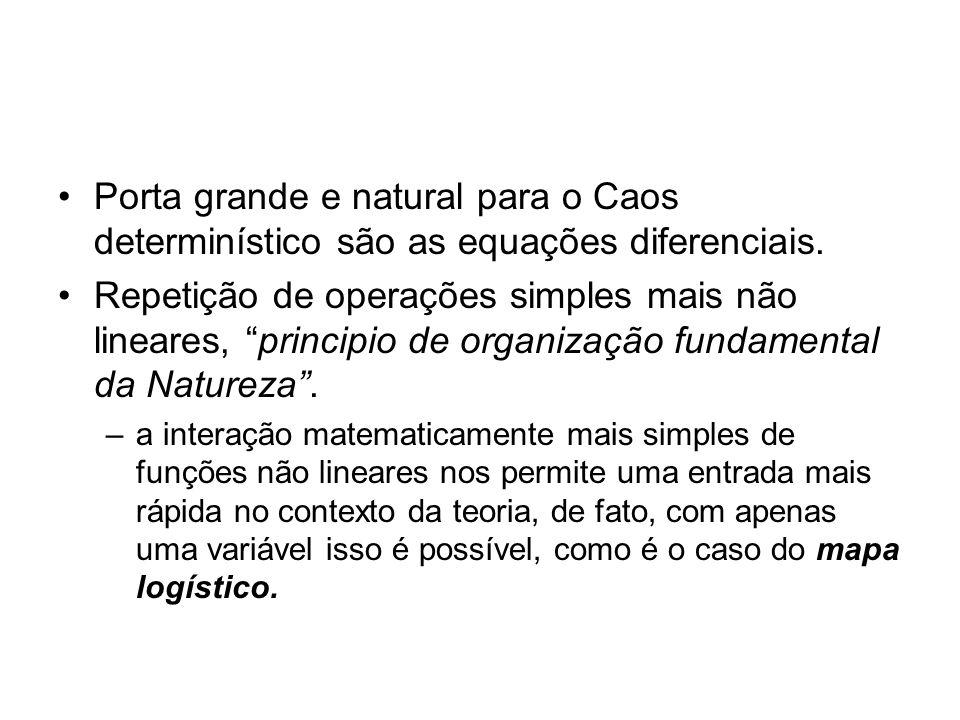 Porta grande e natural para o Caos determinístico são as equações diferenciais. Repetição de operações simples mais não lineares, principio de organiz