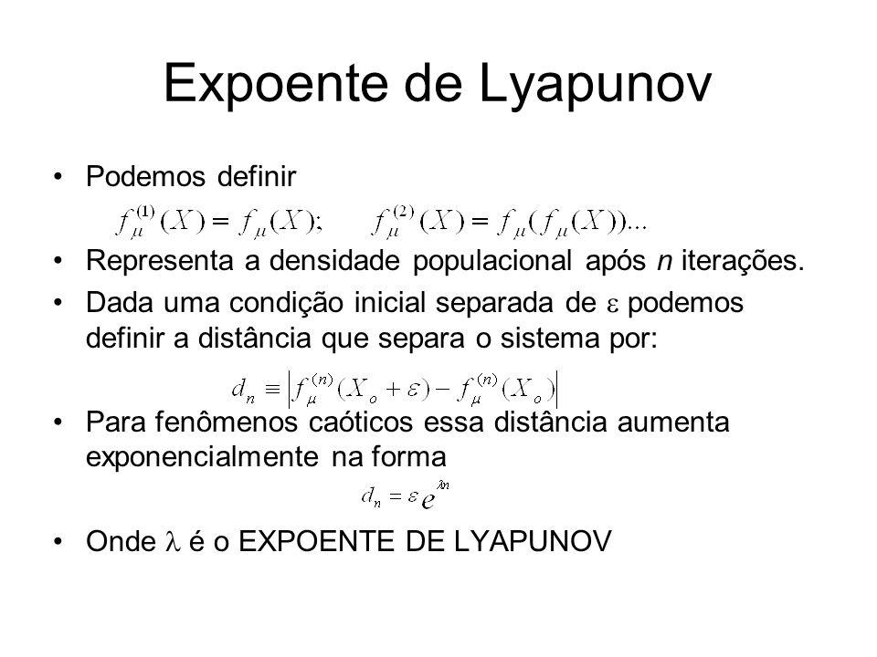 Expoente de Lyapunov Podemos definir Representa a densidade populacional após n iterações. Dada uma condição inicial separada de podemos definir a dis