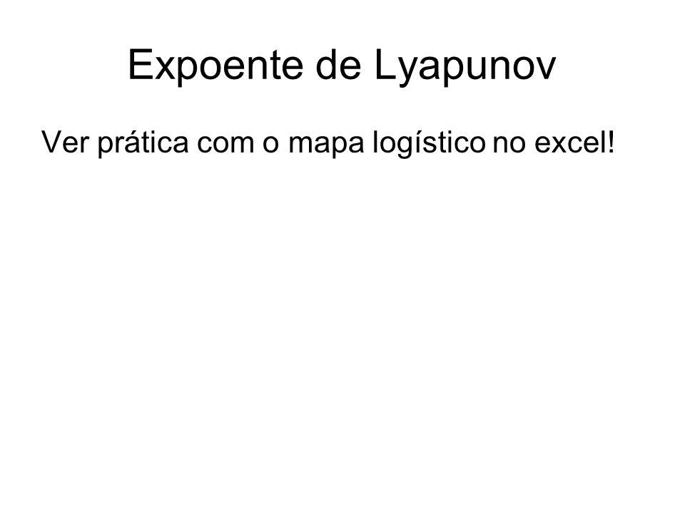 Expoente de Lyapunov Não é necessário termos a função para se calcular o expoente.