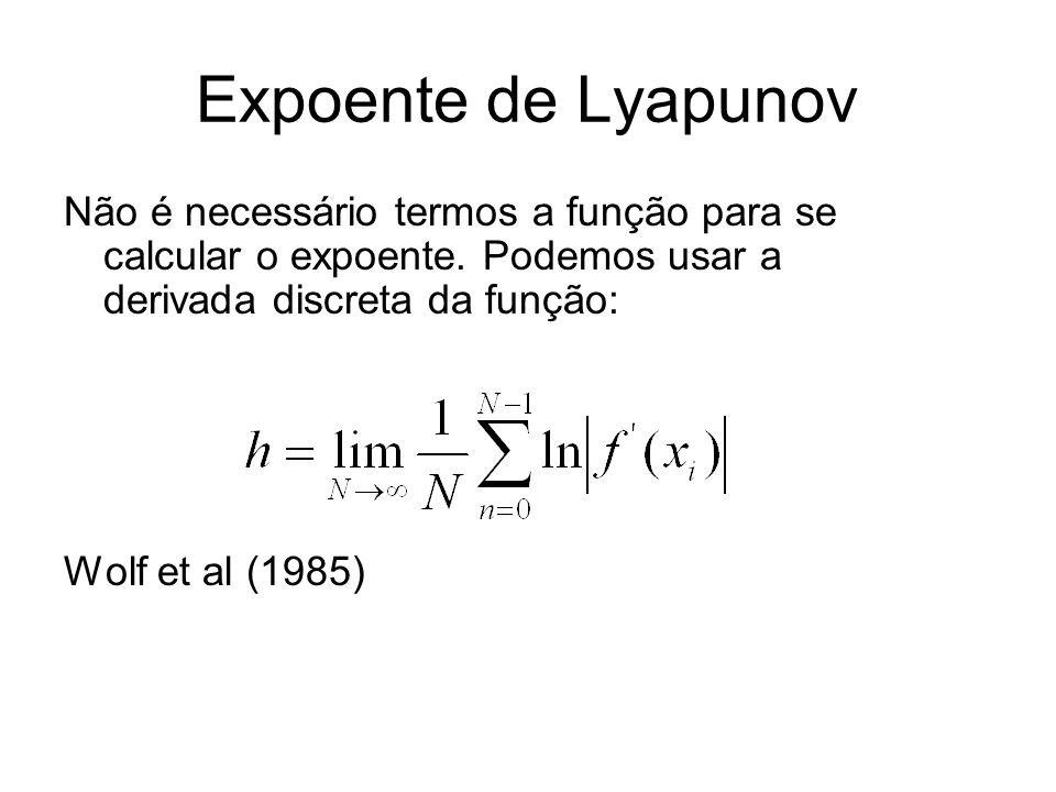Expoente de Lyapunov Não é necessário termos a função para se calcular o expoente. Podemos usar a derivada discreta da função: Wolf et al (1985)