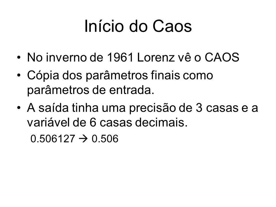 Início do Caos No inverno de 1961 Lorenz vê o CAOS Cópia dos parâmetros finais como parâmetros de entrada. A saída tinha uma precisão de 3 casas e a v