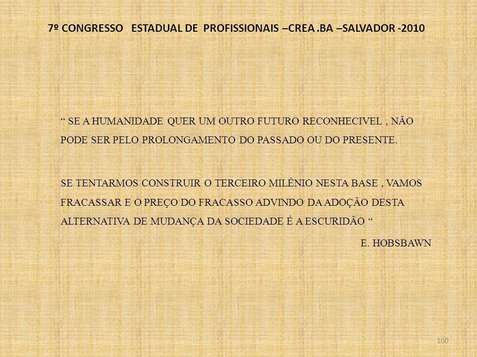 7º CONGRESSO ESTADUAL DE PROFISSIONAIS –CREA.BA –SALVADOR -2010 101