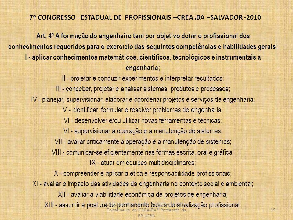 7º CONGRESSO ESTADUAL DE PROFISSIONAIS –CREA.BA –SALVADOR -2010 Art.