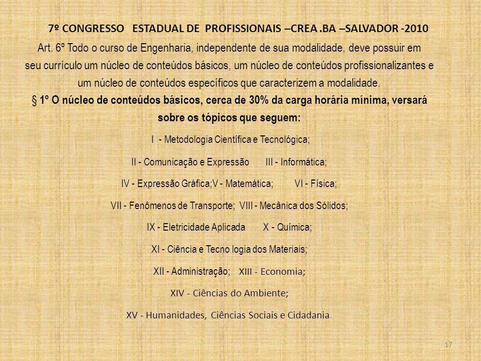 7º CONGRESSO ESTADUAL DE PROFISSIONAIS –CREA.BA –SALVADOR -2010 2ºNos conteúdos de Física, Química e Informática, é obrigatória a existência de atividades de laboratório.