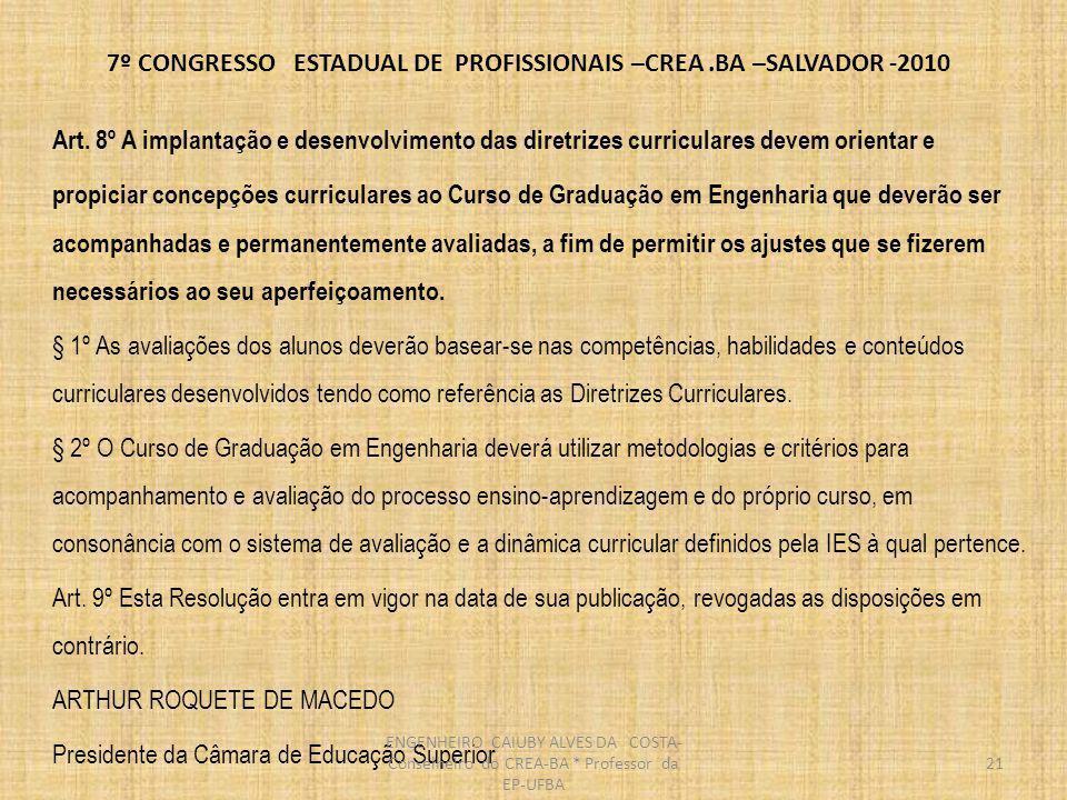 7º CONGRESSO ESTADUAL DE PROFISSIONAIS –CREA.BA –SALVADOR -2010 22 ESTRUTURA DO ENSINO SUPERIOR BRASILEIRO ENGENHEIRO CAIUBY ALVES DA COSTA- Conselheiro do CREA-BA * Professor da EP-UFBA