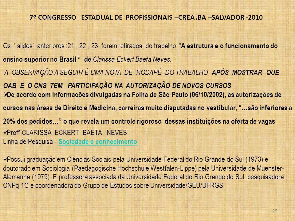 7º CONGRESSO ESTADUAL DE PROFISSIONAIS –CREA.BA –SALVADOR -2010 26 De acordo com informações divulgadas na Folha de São Paulo (06/10/2002), as autorizações de cursos nas áreas de Direito e Medicina, carreiras muito disputadas no vestibular, …são inferiores a 20% dos pedidos… o que revela um controle rigoroso dessas instituições na oferta de vagas E NO CASO DO SISTEMA CONFEA/CREA.