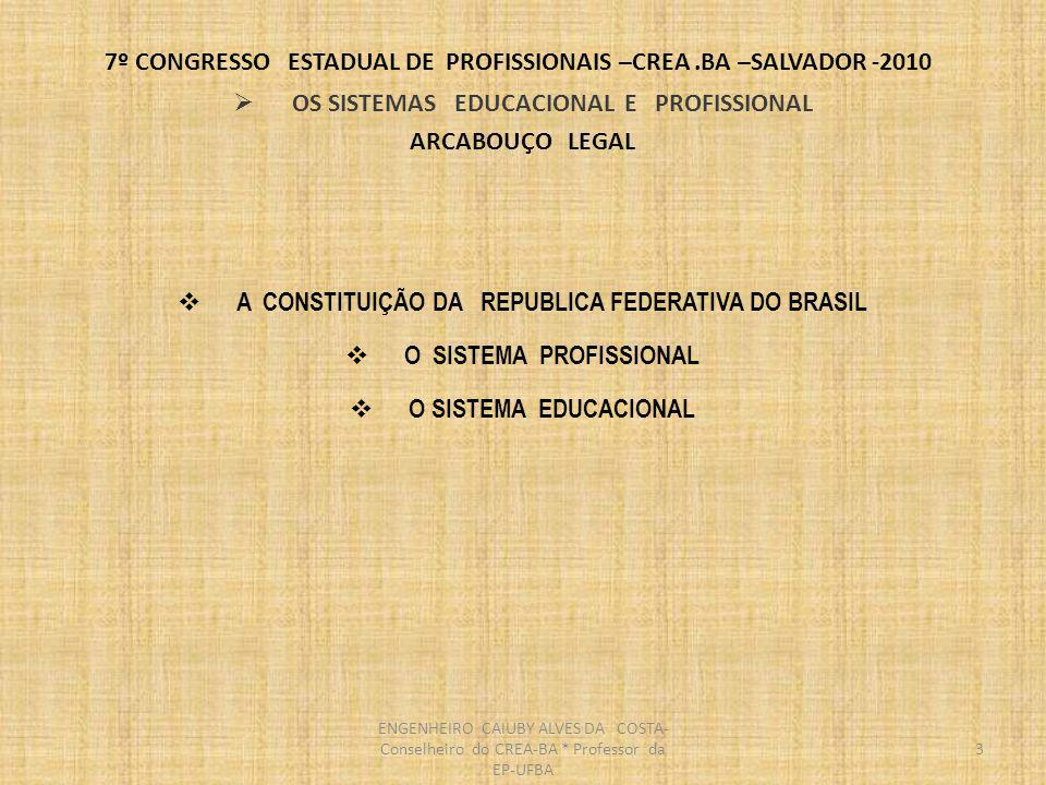 7º CONGRESSO ESTADUAL DE PROFISSIONAIS –CREA.BA –SALVADOR -2010 4 CONSTITUIÇÃO DA REPUBLICA FEDERATIVA DO BRASIL DA EDUCAÇÃO, DA CULTURA E DO DESPORTO Seção I -DA EDUCAÇÃO Art.