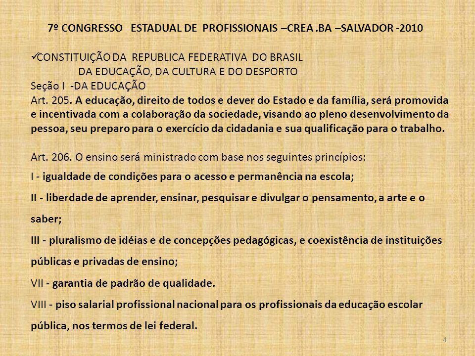 7º CONGRESSO ESTADUAL DE PROFISSIONAIS –CREA.BA –SALVADOR -2010 5 CONSTITUIÇÃO DA REPUBLICA FEDERATIVA DO BRASIL Seção I -DA EDUCAÇÃO Art.
