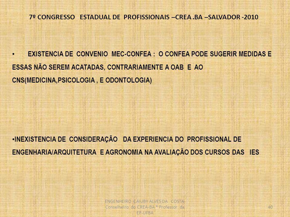 7º CONGRESSO ESTADUAL DE PROFISSIONAIS –CREA.BA –SALVADOR -2010 EXISTENCIA DE CONVENIO MEC-CONFEA : ONDE O CONFEA PODE SUGERIR E NÃO SER ACATADO, TENDO TRATAMENTO DIFERENCIADO DE DIREITO E AREAS DA SAUDE(MEDICINA, PSICOLOGIA E MEDICINA ) QUE DE FATO TEM SUAS DECISÕES ACATADAS INCLUSIVE QUQNTO A CRIAÇÃO DE NOVOS CURSOS INEXISTENCIA DE CONSIDERAÇÃO DA EXPERIENCIA DO PROFISSIONAL DE ENGENHARIA/ARQUITETURA E AGRONOMIA NA AVALIAÇÃO DOS CURSOS DAS IES 41 ENGENHEIRO CAIUBY ALVES DA COSTA- Conselheiro do CREA-BA * Professor da EP-UFBA