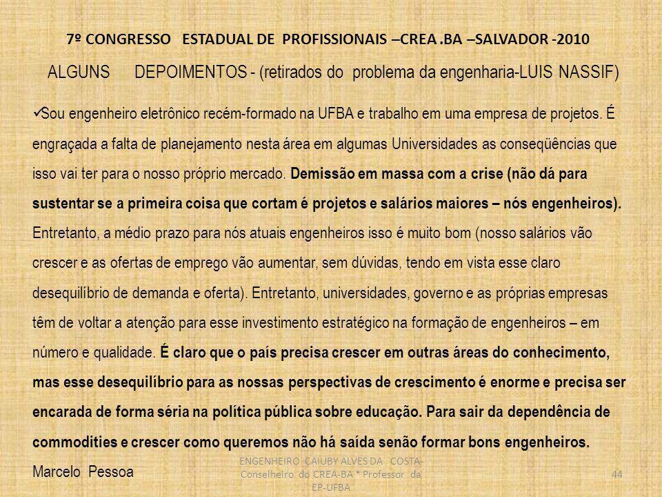 7º CONGRESSO ESTADUAL DE PROFISSIONAIS –CREA.BA –SALVADOR -2010 45 Na área Espacial, a situação é mais grave ainda.