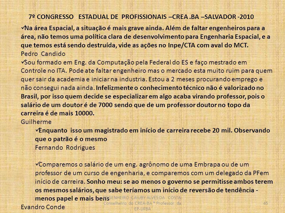 7º CONGRESSO ESTADUAL DE PROFISSIONAIS –CREA.BA –SALVADOR -2010 46 Este é um tema importante.