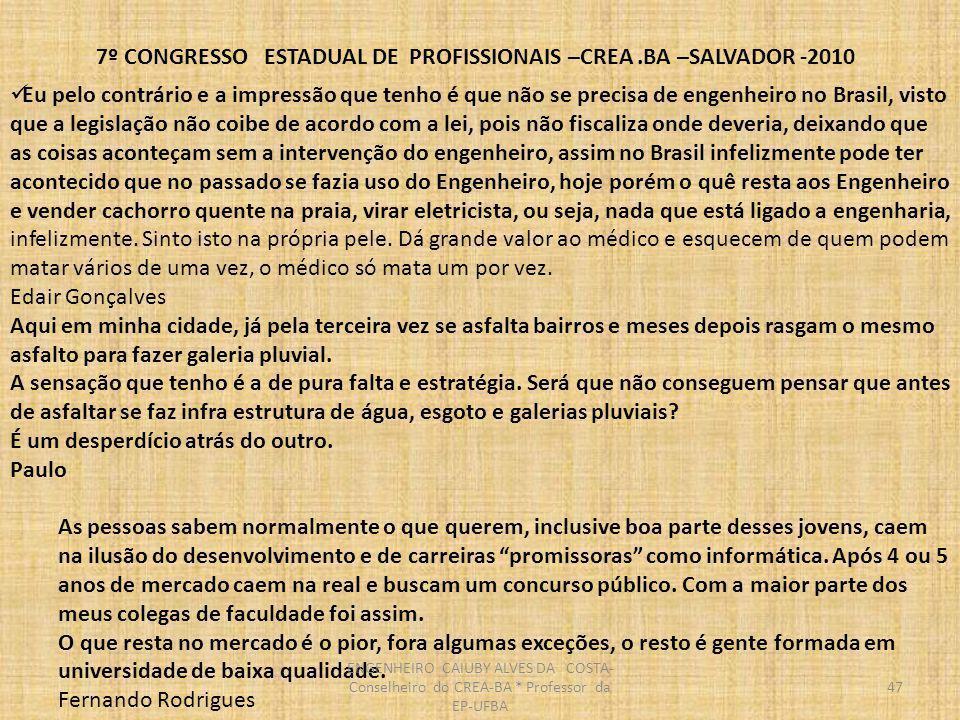 7º CONGRESSO ESTADUAL DE PROFISSIONAIS –CREA.BA –SALVADOR -2010 48 Sou engenheiro formado pela POLI USP em 1987.
