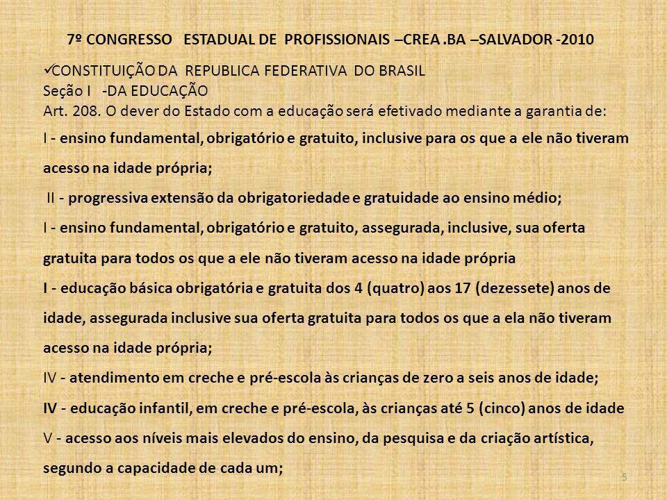 7º CONGRESSO ESTADUAL DE PROFISSIONAIS –CREA.BA –SALVADOR -2010 A CONSTITUIÇÃO DA REPUBLICA FEDERATIVA DO BRASIL 6 CAPÍTULO IV DA CIÊNCIA E TECNOLOGIA Art.