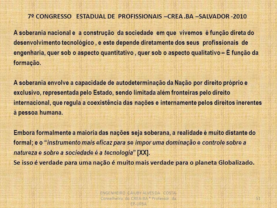7º CONGRESSO ESTADUAL DE PROFISSIONAIS –CREA.BA –SALVADOR -2010 52 PONTOS CRITICOS DE INTEGRAÇÃO E SUSTENTABILIDADE INEXISTENCIA DE UM PROJETO ESTRATEGICO PARA A NAÇÃO NÃO CUMPRIMENTO DA S LEI S : LEI 5194 E LEI 4960A AS ESTRUTURAS DOS SISTEMAS EDUCACIONAL E PROFISSIONAL E SEU RELACIONAMENTO A POSTURA DA MAIORIA DAS EMPRESAS EM RELAÇÃO A AREA TECNOLOGICA INEXISTENCIA DE UMA CARREIRA TECNOLOGICA ESTRUTURADA NO SETOR PUBLICO MÁ REMUNERAÇÃO DAS CARREIRAS TECNOLOGICAS BAIXA SOLICITAÇÃO A PROJETOS DE ENGENHARIA, ARQUITETURA, AGRONOMIA –UTILIZAÇÃO DO SISTEMA TURN-KEY E BAIXO PREÇO LICITAÇÕES DE EMPREENDIMENTOS SEM PROJETO EXECUTIVO, ACARRETANDO : ADITIVOS CONTRATUAIS, PROBLEMAS ÉTICIOS E PROPORCIONANDO BASE PARA GERAÇÃO DE CORRUPÇÃO BAIXA ESTIMA PROFISSIONAL DESISTIMULO DOS JOVENS TENDENCIA DOS NOSSOS MELHORES PROFISSIONAIS A EMIGRAR NÃO INTEGRAÇÃO REAL DOS PROFISSIONAIS COM O SISTEMA CONFEA/CREAs ENGENHEIRO CAIUBY ALVES DA COSTA- Conselheiro do CREA-BA * Professor da EP-UFBA