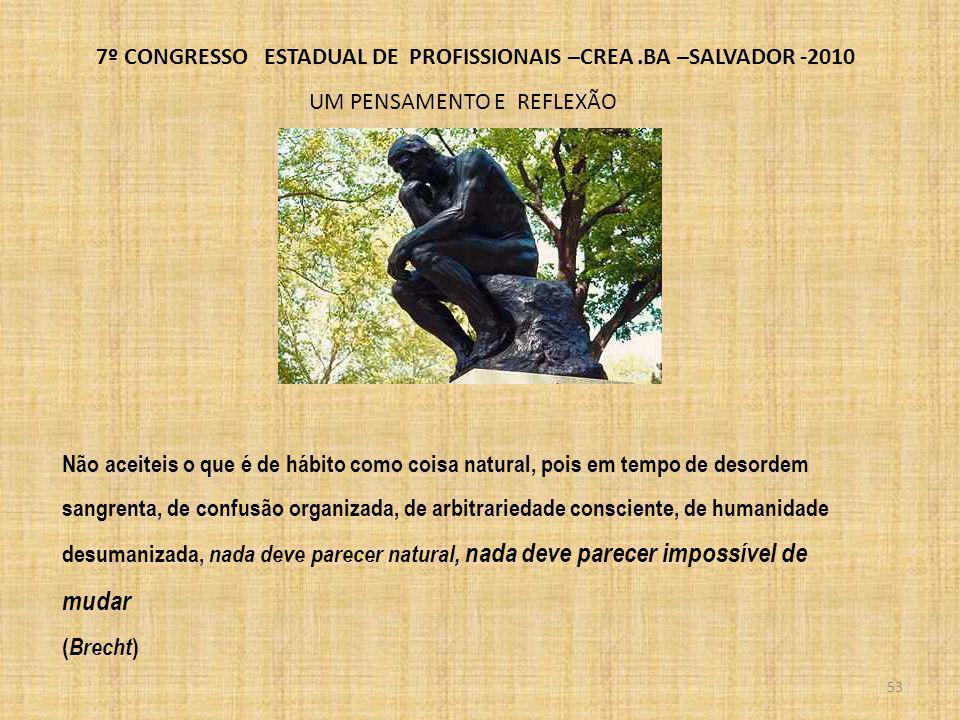 7º CONGRESSO ESTADUAL DE PROFISSIONAIS –CREA.BA –SALVADOR -2010 AÇÕES IMEDIATAS POSSIVEIS ENTRE OS SISTEMA EDUCACIONAL E PROFISSIONAL REVISÃO E IMPLANTAÇÃO DO CONVENIO EXISTENTE, PROPORCIONANDO AO CONFEA O MESMO TRATAMENTO DADO AS AREAS DA SAUDE E DO DIREITO DIRIMIR A INTERPRETAÇÃO DA CARGA HORARIA ADOTANDO A RESOLUÇÃO DO CONFEA OU A MELHORANDO ALTERAR O CRITERIO DE AVALIAÇÃO DOS CURSOS DE ENGENHARIA INCLUINDO COMO PARAMETRO A EXPERIENCIA PROFISSIONAL DO DOCENTE ASSEGURAR O CUMPRIMENTO DAS LEIS QUE REGEM AS PROFISSÕES TECNOLOGICAS
