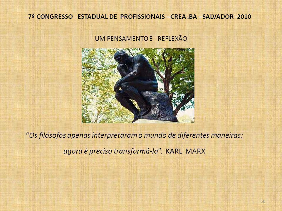 57 AS ENGENHARIAS TRONCO E A RESIDENCIA TÉCNICA ENGENHEIRO CAIUBY ALVES DA COSTA- Conselheiro do CREA-BA * Professor da EP-UFBA 7º CONGRESSO ESTADUAL DE PROFISSIONAIS –CREA.BA –SALVADOR -2010