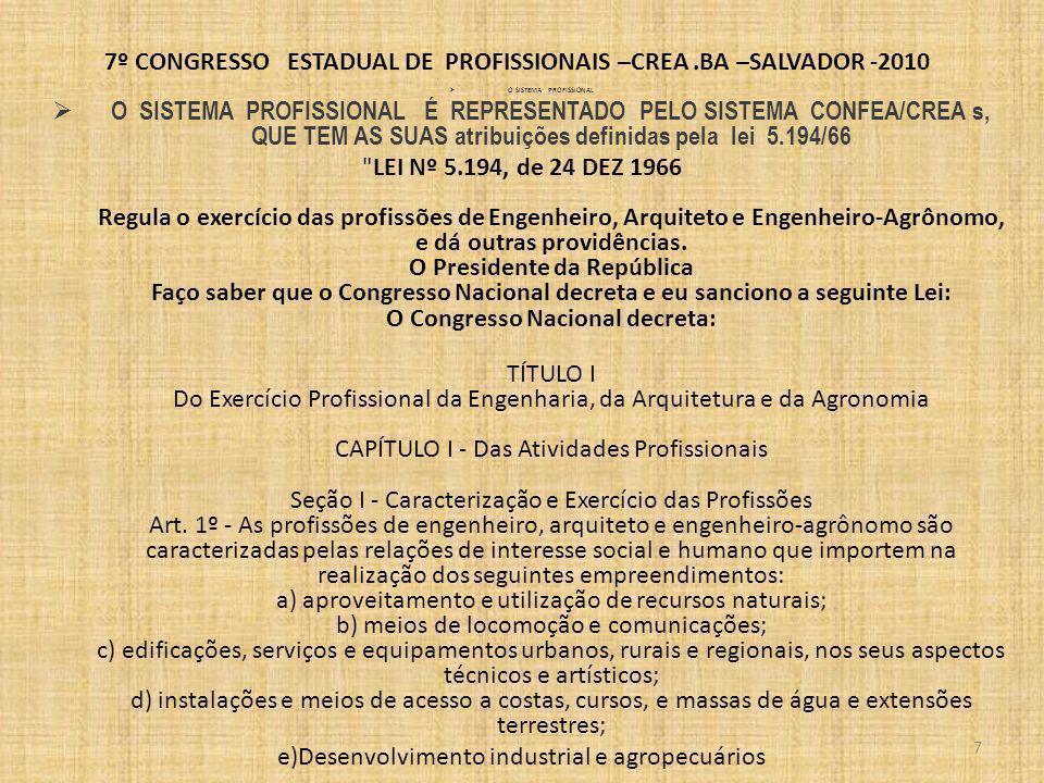 7º CONGRESSO ESTADUAL DE PROFISSIONAIS –CREA.BA –SALVADOR -2010 LEI Nº 5.194, de 24 DEZ 1966 Art.