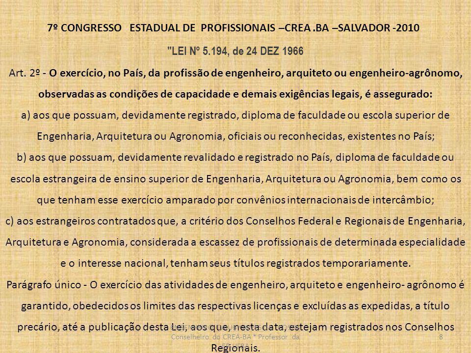 7º CONGRESSO ESTADUAL DE PROFISSIONAIS –CREA.BA –SALVADOR -2010 O SISTEMA PROFISSIONAL Seção II - Do uso do Título Profissional Art.